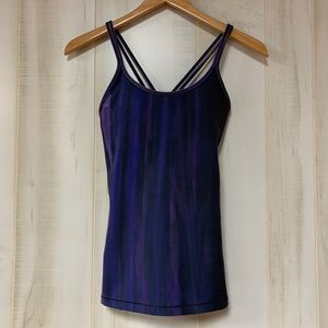 Lululemon Navy Blue Purple Watercolor Strappy Tank